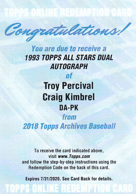 2018 Topps Archives Baseball Part 4 Autograph Cards