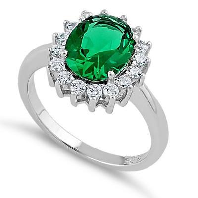 Princess Diana 925 Sterling Silver Sparkly Green Oval & Clear CZ Ring All Sizes