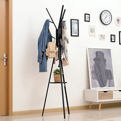 "71"" Metal Coat Rack Hat Hanger Garment Holder 9 Hooks with Shelf Black"