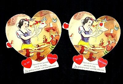 2 Vintage 1938 Snow White and The Seven Dwarfs Mechanical Valentines Day Card