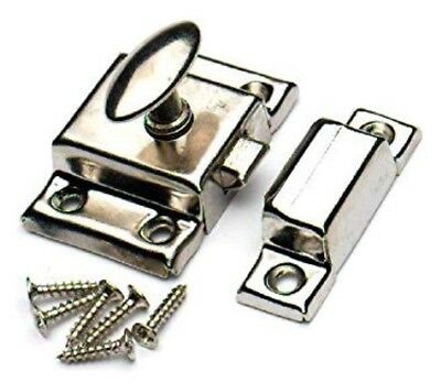 Chrome Cupboard Thumb Turn Catch Sprung Cabinet Desk Draw Wardrobe Twist Lock 2""