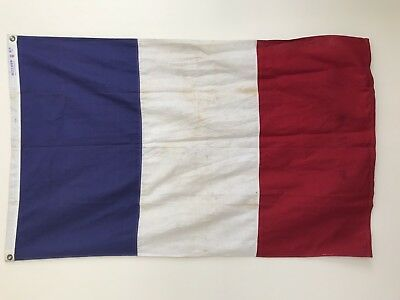 Vintage Linen & Cotton France French Flag 3' x 5' Stitched - Great for Framing