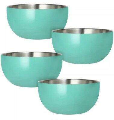 Stainless-Steel Double-Wall Bowl Set 4 pack Teal