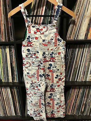 Vintage 50s 60s Mickey Minnie Mouse Youth Kids Overalls Pants Disney Cartoon