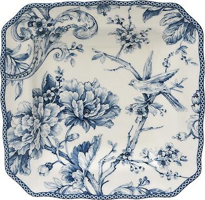 """222 Fifth Adelaide Blue & White 8.5"""" square salad plates - Set of 4 - Open Stock"""
