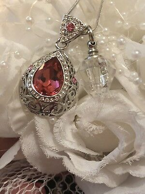 Pink Topaz  pave heart double Stainless Steel Cremation Urn Locket Necklace
