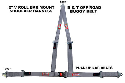 "Off Road 2"" Push Button V Roll Bar Mount Harness. 3 Point Buggy Belt Gray"