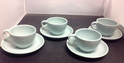 Russel Wright IROQUOIS CASUAL CHINA Ice Blue Set of 4 Cups & Saucers