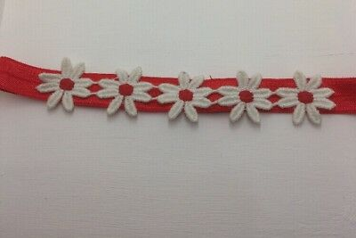 Babies red  Headband with daisies 0-6 months