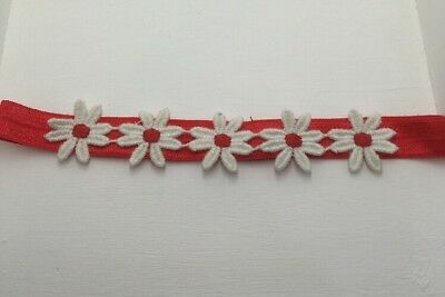 Babies red  Headband with daisies 6-12 Month
