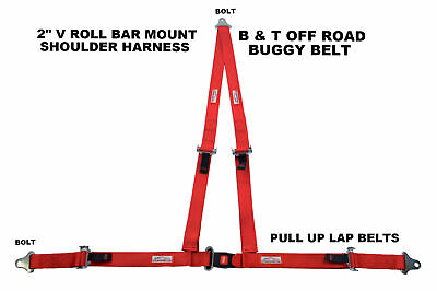 Sand Rail 3 Point Seat Belt Buckle Roll Bar Mount V Harness Red