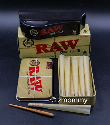 15  Raw Pre Rolled CONES RAW + rolling papers Loader shooter Filler  King Size