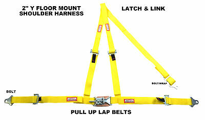 "Off Road 2"" Latch & Link Y Floor Mount Harness. 3 Point Buggy Belt Yellow"