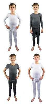 Kids Thermal Underwear Sets Two Piece Long or Shirt Sleeved White Blue Charcoal