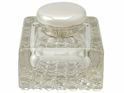Antique Cut Glass and Sterling Silver Desk Inkwell - George V
