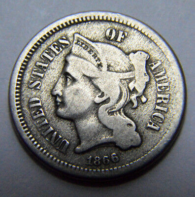 RARE1866 III THREE Cent Nickel , KEY DATE, Old USA Coin, 3c  !