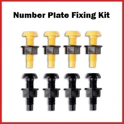 Number Plate Fixing Fitting Kit Plastic Nuts & Screws 4 x Black 4 x Yellow