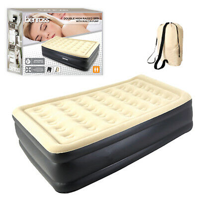 Inflatable Double High Raised Air Bed Mattress Airbed + Built In Electric Pump