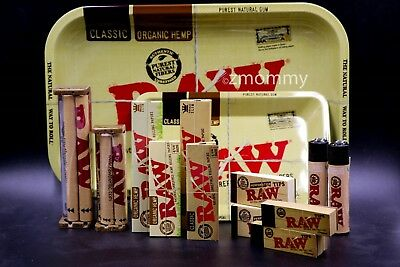 AUTHENTIC RAW PAPER 2xCOLLECTIONS M-TRAY+PAPERS+TIPS+ROLLING MACHINE+LIGHTER