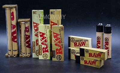AUTHENTIC RAW ROLLING PAPER SUPER  COLLECTION MACHINE+PAPERS+TIPS+Lighter