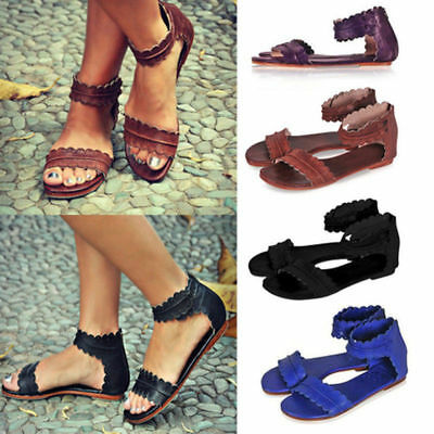 Women's Beach Summer Gladiator Casual Sandals Flat Shoes Rome Slippers Beach New