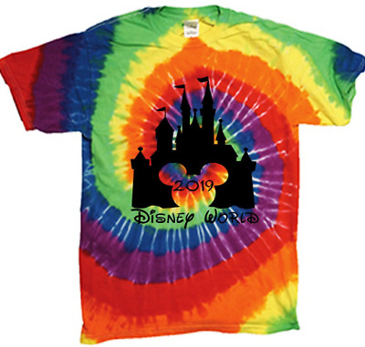 Disney World matching family vacation 2019 tee shirt multi color tie dye t shirt