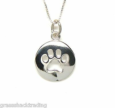 DOG PAW IMPRINT 925 Sterling Silver Necklace Chain and Charm Pendant #2110