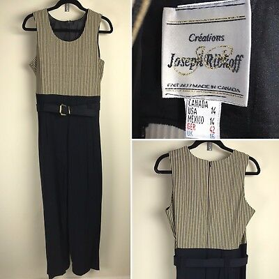 b94e59b800c Joseph Ribkoff Jumpsuit Black Gold Creations Made in Canada Belted Women  Size 14