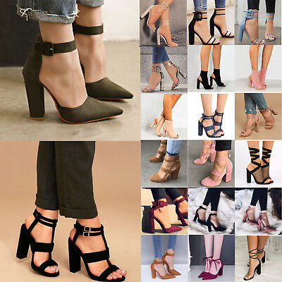 Women High Heel Block Ankle Strap Chunky Sandals Party Dress Pumps Shoes Size