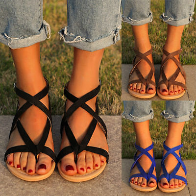 Womens Bohemia Flats Gladiator Sandals Shoes Beach Flip-Flops T-strap Slippers