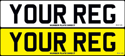 PAIR of Number Plates Standard Car Reg MOT Compliant & Road Legal Registration