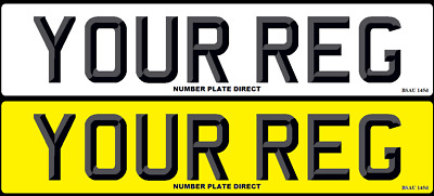 PAIR of Number Plates 3D Font Car Reg MOT Compliant & UK Registration FREE POST