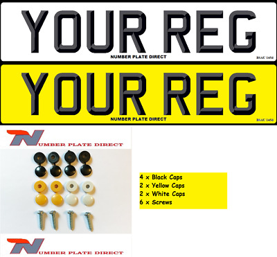 PAIR of Number Plates 3D Font With FIXINGS Car Reg MOT Compliant UK Road Legal