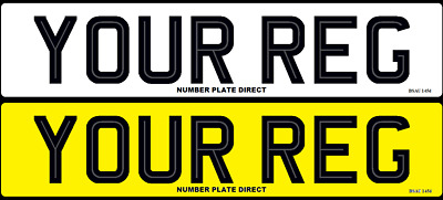 PAIR of Number Plates Hi-Line Car 100%MOT Compliant & UK Road Legal Registration