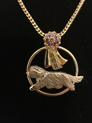 14K-9 Bearded Collie CUSTOM MADE, BOB Pendant w/Natural Citrine & Amethyst stone