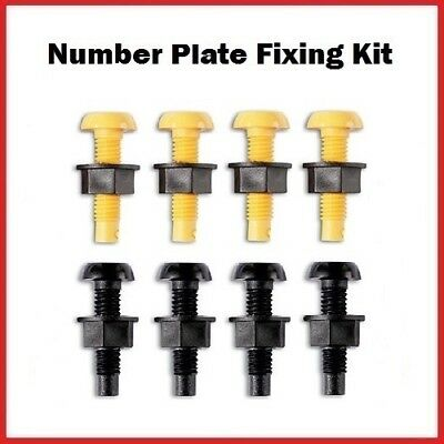 Car Number Plate Fixing Fitting Kit Plastic Nuts & Bolts 4 Black 4 Yellow 8 Nuts
