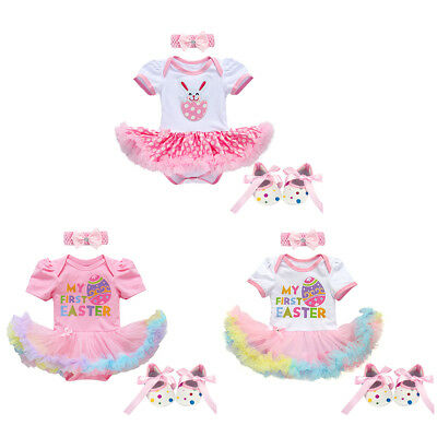 Newborn Baby Girls My First Easter Clothes Egg Bunny Romper Dress 3PCS Outfits