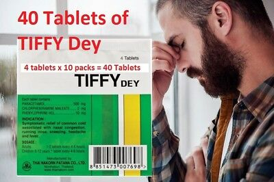 40 tablets Tiffy Dey to reduce headache Cold flu relief ANTIPYRETIC NASAL
