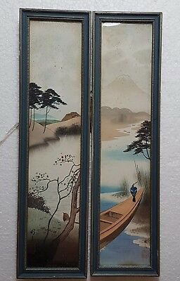 A Beautiful Pair Of Japanese ink & Watercolours paintings. Birds in landscape.