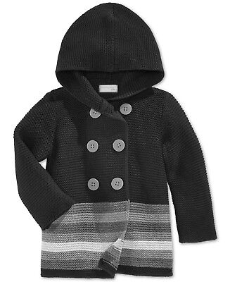 0377360422a7 First Impressions Baby Girls  Double-Breasted Striped Hooded Sweater –  Black .