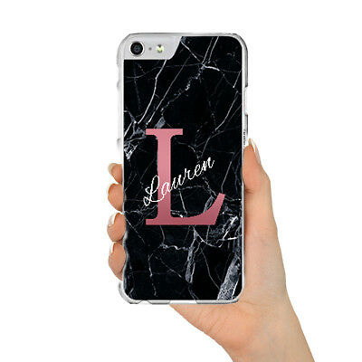 Personalised Black Marble Case With Initials Name For Apple Iphone 6 7 8 X