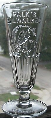 FALK'S MILWAUKEE Wisconsin Wis Wi REXNORD Retro Beer Glass Mint! Great Graphics!