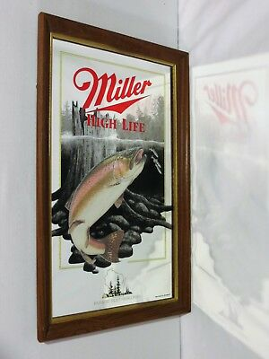 """Miller High Life Mirror """"Rainbow Trout"""" 5th in Wildlife Series First Printing"""