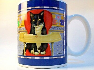 Vintage 1992 Lowell Herrero VANDOR Black & White Cat in Baby's High Chair Mug