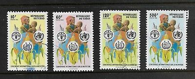 1992 INTERNATIONAL NUTRITION CONFERENCE Rome, CHAD, Tchad, set of 4, used