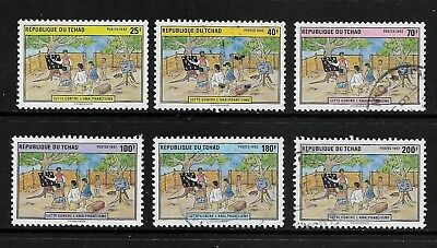 1992 LITERACY CAMPAIGN, CHAD, Tchad, set of 6, used