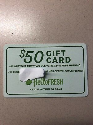 Hello Fresh - $50 Gift Card ($25 Off First 2 Deliveries) plus free shipping