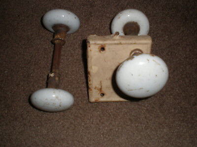 Vintage Antique white Porcelain Door Knobs with Mortise Door Latch Four Handles