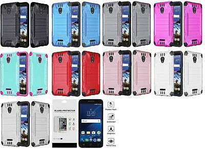 For Alcatel Raven LTE A574BL Combat Hybrid Protector Case Cover + Tempered Glass