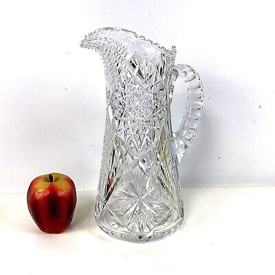 "Large American Brilliant ABP Cut Glass 11.5"" Water Pitcher"